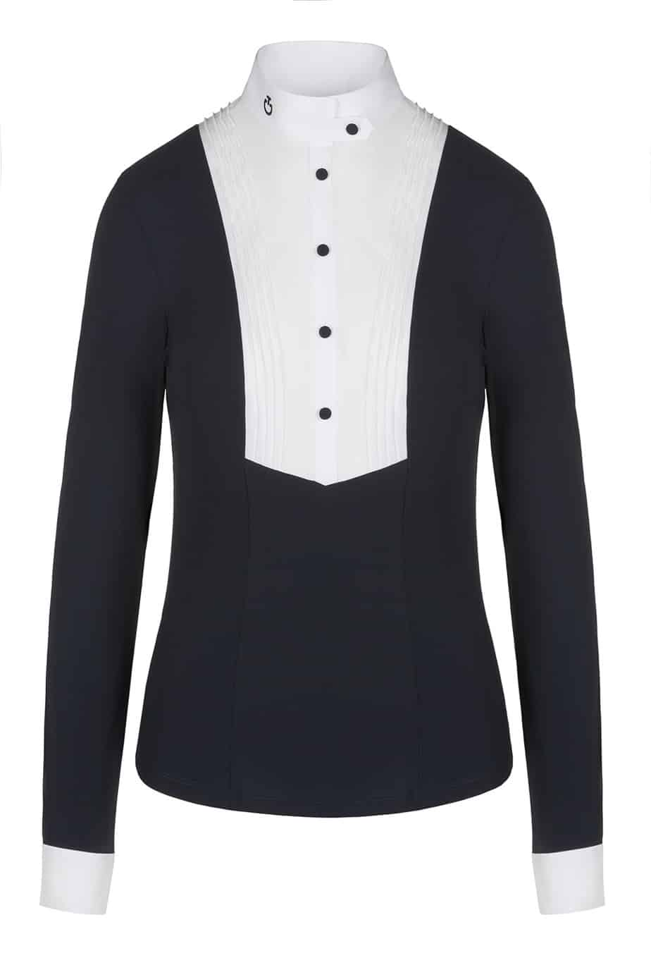 Cavalleria Toscana Women's Long Sleeve Competition Shirt with Bib- Navy